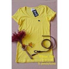 Allamanda เสื้อยืดสีพื้นคอยู พับแขน สีเหลือง ใน กรุงเทพมหานคร