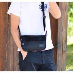 ขาย ซื้อ ออนไลน์ Allday Ny04 Black กระเป๋าสะพายข้าง ผ้าไนลอนผสมหนัง สีดำ Three Box
