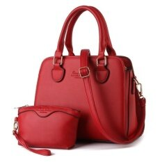 Alpha Living Simple Handbag PU Leather Tote Shoulder Bag (Red)