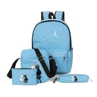 แอมป์ 4 ชิ้นวัยรุ่นน่ารักแมวพิมพ์กระเป๋าเป้สะพายหลังกระเป๋าชุดไม่จำกัดเพศโรงเรียนกระเป๋าดินสอชุด - นานาชาติ-