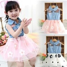 Amart Cute Denim Top Sun Flower Princess Tutu Dresses Baby Girls Toddler Clothes - Intl.