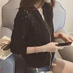 Amart แฟชั่นผู้หญิงเสื้อแจ็คเก็ตบอมเบอร์เสื้อลูกไม้แขนยาวครีมกันแดดเสื้อคลุมบางๆเสื้อลำลอง (สีดำ) - Intl.