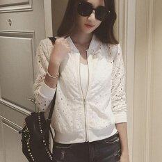แอมป์แฟชั่นผู้หญิงเสื้อแจ็คเก็ตแขนยาวครีมกันแดดเสื้อบางเสื้อลำลอง (สีขาว)-นานาชาติ.
