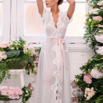 แฟชั่นอาร์ทแฟชั่นผู้หญิง Nightdress ลูกไม้เสื้อคลุมอาบน้ำโปร่งใสชุดนอนตาข่าย Sex พร้อมเข็มขัด (สีขาว)-นานาชาติ