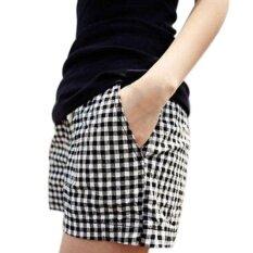 ขาย Amart แฟชั่นผู้หญิงลายสก๊อตลำลองเอวยางยืดเอวทั้งหมดตรงกับ N ฤดูร้อนกางเกงขาสั้นสั้น สีดำ แองโกลา