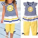 ขาย Amart Girls Clothing Sets Daisy Summer Short Sleeve Striped T Shirt Pants Baby Kids Clothes