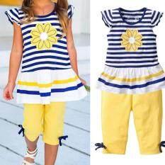 ซื้อ Amart Girls Clothing Sets Daisy Summer Short Sleeve Striped T Shirt Pants Baby Kids Clothes Amart ออนไลน์