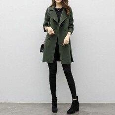 Amart แฟชั่นเกาหลีผู้หญิงเสื้อโค้ตลำลอง Lapel Warm แขนยาวบางเสื้อผ้าแฟชั่น - Intl.