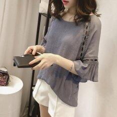 ราคา Amart ผู้หญิงเกาหลีฤดูร้อนฤดูร้อนเสื้อชีฟองเสื้อลูกไม้กลวงเสื้อ N Flare เสื้อแขนยาว 3 4 เสื้อผ้า Tops สมุทรปราการ