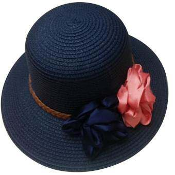 Amart ฤดูดอกไม้ประดับลำลองสวมหมวกฟางปีกกว้างหมวกซันบีช-