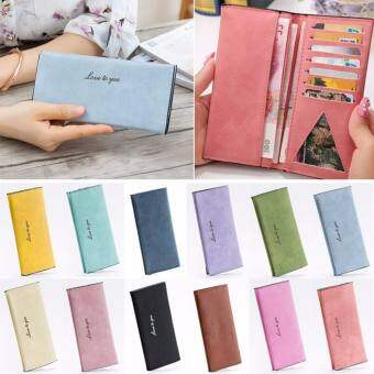 Amart แฟชั่นสำหรับผู้หญิงกระเป๋าสตางค์ขนาดใหญ่กระเป๋าสตางค์ยาวหนัง PU กระเป๋าแบบคลัตช์กระเป๋าใส่นามบัตร - INTL