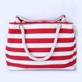 ราคา ราคาถูกที่สุด Amart Women Striped Canvas Bag Summer Beach Shoulder Bags Large Capacity Messenger Tote Intl