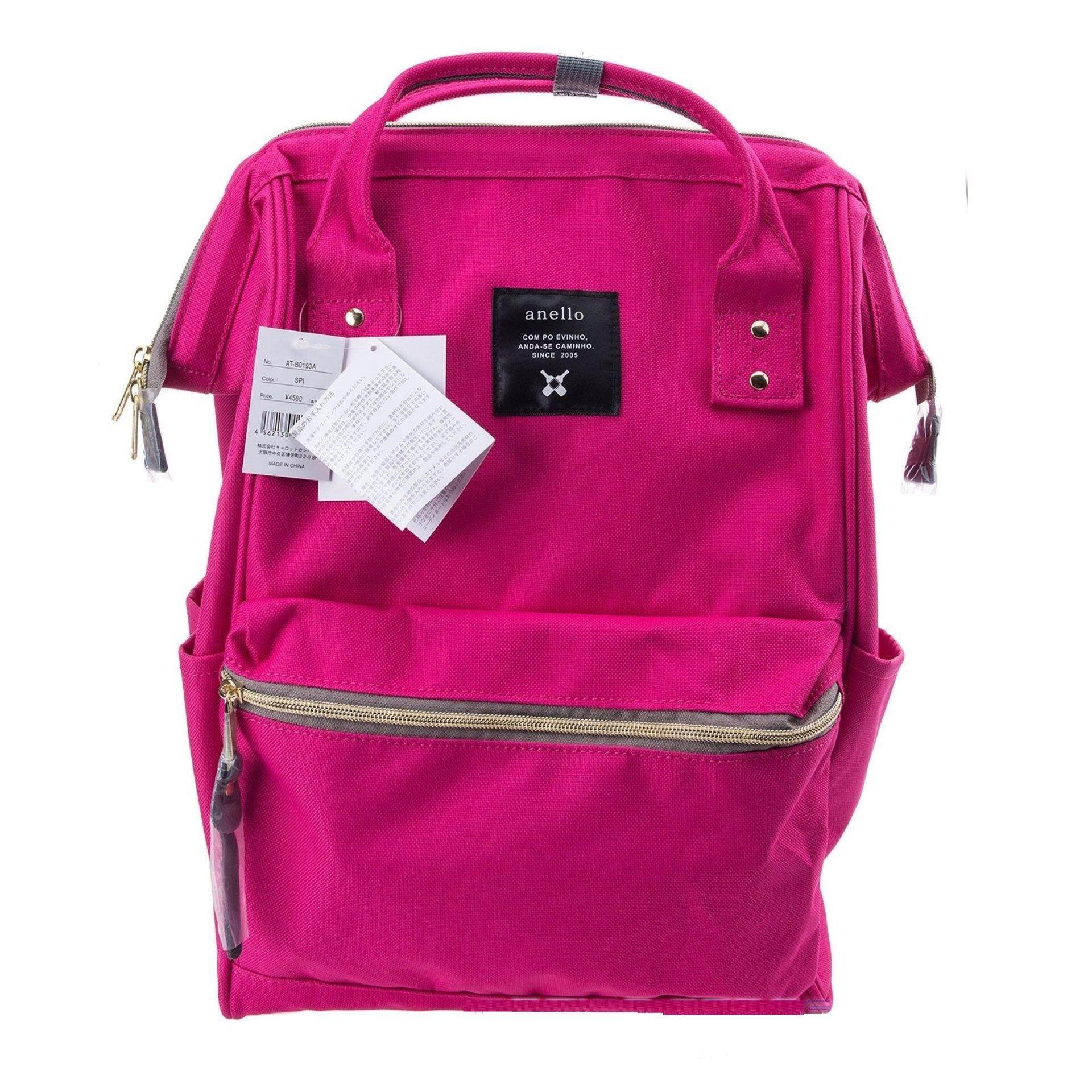 กระเป๋าสะพายหลัง Anello Canvas Unisex Backpack Shocking Pink (Classic Size) - Japan Imported 100%