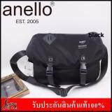 Anello Logo Print Messenger Bag กระเป๋าสะพายข้าง สีดำ Anello ถูก ใน Thailand
