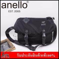 ซื้อ Anello Logo Print Messenger Bag กระเป๋าสะพายข้าง สีดำ ใหม่