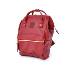 Anello Mini Leather Backpack กระเป๋าเป้สะพายหลังขนาดมินิรุ่น B1212 Mini Wine สีแดง ใหม่ล่าสุด