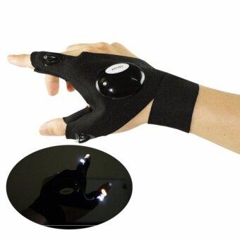AngAng ถุงมือไฟ LED แบบ 2 นิ้ว ถุงมือไฟฉาย ถุงมือสำหรับเต้น (ข้างซ้าย)