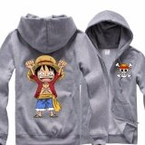 ทบทวน ที่สุด Anime One Piece D Luffy Cosplay Hoodies Jacket Coat Pirate Costume Cosplay Collection Casual Sweatshirt Grey Intl