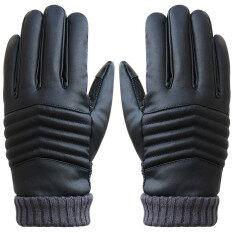 ขาย ซื้อ ป้องกันการหลุดคนหน้าจอสัมผัสความร้อนหนาวถุงมือหนังกีฬาสีดำ ระหว่างประเทศ ฮ่องกง