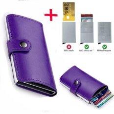 ขาย กระเป๋าสตางค์หนังผู้ชายกันขโมยกระเป๋าสตางค์ Rfid ขนาดเล็กการปิดกั้นธุรกิจโดยอัตโนมัติการถือบัตรท่องเที่ยวแบบ Pop Case กรณีบัตรเครดิต Protector Purple Intl Unbranded Generic