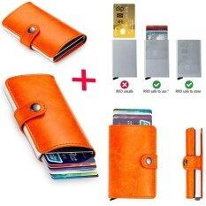 ขาย กระเป๋าสตางค์หนังผู้ชายป้องกันการโจรกรรมกระเป๋าสตางค์ Rfid ขนาดเล็กการปิดกั้นธุรกิจโดยอัตโนมัติผู้ถือบัตรใส่บัตรกรณีบัตรเครดิต Protector สีเหลือง Intl Unbranded Generic