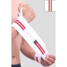 สายรัดข้อมือออกกำลังกาย ยกน้ำหนัก Aolikes (1 คู่) Power Lifting Strap สีขาว-แดง By Comeandbuy.