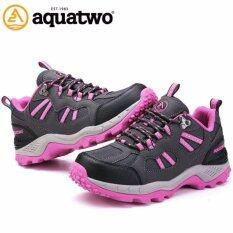 ขาย Aquatwo รองเท้าหนังแท้ กันน้ำอย่างดี สำหรับลุยป่า ปีนเขา รุ่น304 สีเทา ชมพู Aquatwo ถูก