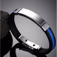Areeya@shop สายรัดข้อมือ สร้อยข้อมือหนัง สแตนเลสตกแต่งลาย Premium Bracelet Stainless-S21- Blue By Areeya@shop.