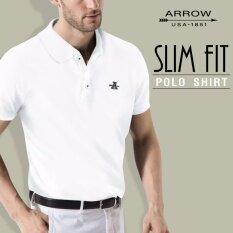 ราคา Arrow เสื้อโปโล สีขาว ทรง Slim Fit ถูก
