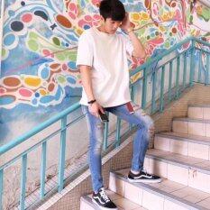 Artery Jeans ยีนส์ผ้ายืดทรงเดฟ Super Skinny ขายาวเอวต่ำ กีดขาด สียีนส์ซีด Artery Jeans ถูก ใน ไทย