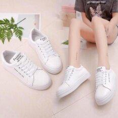 ราคา Astrid รองเท้า รองเท้าผ้าใบแฟชั่น รองเท้าผ้าใบผู้หญิงสีดำ ขาวรุ่น A017 Black White