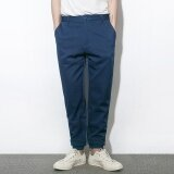 Autumn And Winter Pure Color Casual Trousers Tide Men S Day Retro Loose Feet Solid Color Feet Haren Pants Blue Intl ใน จีน