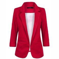 ราคา ราคาถูกที่สุด Autumn Fashion Women 7 Colors Slim Fit Blazer Jackets Notched Three Quarter Sleeve Blazer Red