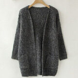Autumn Korean Version Solid Color Pocket Loose Sweater Female Long Cardigan Sweaters Pull Femme Oversized Winter Coat Dark Gray Intl ถูก
