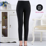 Autumn Middle Age Women Ladies Clothing High Waist Pant Casual Elastic Stretch Trouser Black จีน