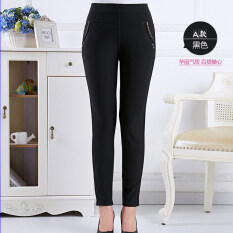 ซื้อ Autumn Middle Age Women Ladies Clothing High Waist Pant Casual Elastic Stretch Trouser Black Unbranded Generic ออนไลน์