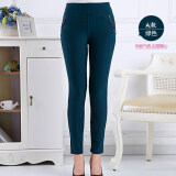 ซื้อ Autumn Middle Age Women Ladies Clothing High Waist Pant Casual Elastic Stretch Trouser Green ถูก ใน จีน