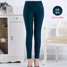 ราคา Autumn Middle Age Women Ladies Clothing High Waist Pant Casual Elastic Stretch Trouser Green ใหม่
