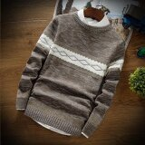 Autumn New Style Fashion Men Clothing Slim Fit Casual Round Neck Pullover Sweater Long Sleeve Coat Coffee Intl ใน จีน