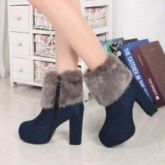 ขาย Autumn Winter Biker Short Boots Suede Thick High Heeled Luxury Women Female Ankle Boots Shoes Unbranded Generic