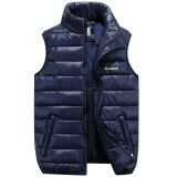 ซื้อ Autumn Winter New Style Zipper Cardigan Men Cotton Vest Fashion Men Clothes Stand Collar Sleeveless Cotton Vest Lovers Down Cotton Vest Jacket Coat Dark Blue Intl ใหม่ล่าสุด