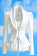 Azone ใหญ่ติดโบว์อาชีพเฒ่าแจ็คเก็ตเสื้อสูท (สีขาว).