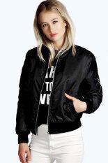 ราคา Azone Women Casual Long Sleeve Front Zipper Coat Fashion Jacket Black Intl ที่สุด