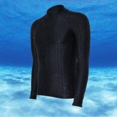 เสื้อว่ายน้ำแขนยาว กันน้ำ กันแดด สีดำ  B1611.