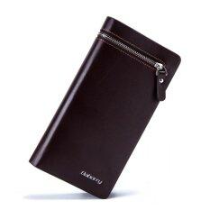 ซื้อ Baborry Mens Long Wallet Business Vertical Style Bifold Pu Leather Men Wallet With Zipper (Coffee) Intl จีน