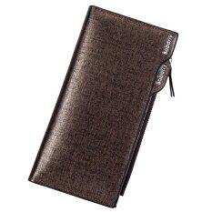 ขาย Baborry Mens Long Wallet High Quality Men S Soft Pu Leather Bifold Wallet With Zipper(Gold) Intl Baborry