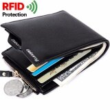 Baborry Mens Short Wallet High Quality Rfid Theft Protection Wallet Men S Soft Pu Leather Bifold Wallet With Zipper(Black) Intl ใหม่ล่าสุด