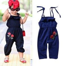 ขาย Kidlove Baby G*rl Sling Jumpsuit Rompers Fashion Flowers Sleeveless Clothes ออนไลน์
