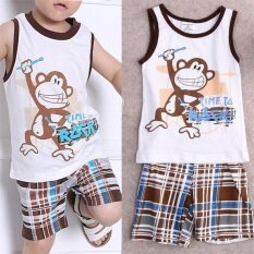 ทบทวน Baby Kids Boy Summer Outfits Cartoon T Shirt Tank Tops Shorts Pants Clothes Set White Intl