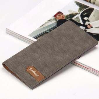 Baellerry กระเป๋าสตางค์ ผู้ชาย กระเป๋าเงิน กระเป๋าตัง บาง ทรงยาว Men Wallet Business Style Long Pattern PU Leather Wallet for Men - Gray-